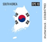 south korea map border with... | Shutterstock .eps vector #1036847983