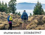 couple hiking with baby boy... | Shutterstock . vector #1036865947