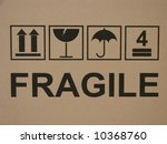 Carton fragile box markings - stock photo