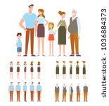 family characters creation set  ... | Shutterstock .eps vector #1036884373