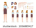 front  side  back view animated ... | Shutterstock .eps vector #1036885417