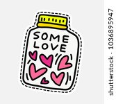 jar with hearts   illustration... | Shutterstock .eps vector #1036895947