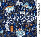 los angeles   lettering and... | Shutterstock .eps vector #1036896643