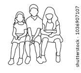 sketch of children sitting | Shutterstock .eps vector #1036907107