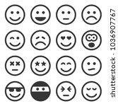 monochrome smile icons set on... | Shutterstock .eps vector #1036907767