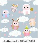 seamless pattern cute baby owl... | Shutterstock .eps vector #1036911883