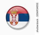 serbia flag round badge or icon ... | Shutterstock .eps vector #1036934053