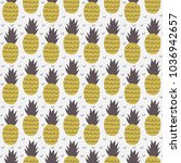 seamless pattern of pineapple.... | Shutterstock .eps vector #1036942657