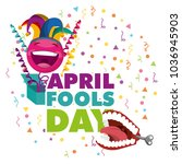 april fools day card | Shutterstock .eps vector #1036945903