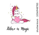 white cute magical unicorn and... | Shutterstock .eps vector #1036948783