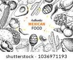 mexican food sketch label in... | Shutterstock . vector #1036971193