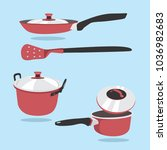 frying pan vector set. a set of ... | Shutterstock .eps vector #1036982683