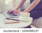 beautiful young woman using... | Shutterstock . vector #1036988137
