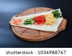 flatbread with chicken meat... | Shutterstock . vector #1036988767