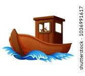 vector illustration of wooden... | Shutterstock .eps vector #1036991617