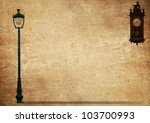 Lamp Street Road Light Pole and Antique clock on old grunge paper - stock photo