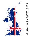 union jack in the outline of... | Shutterstock .eps vector #1037011903