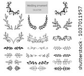 pack of wedding ornaments with... | Shutterstock .eps vector #1037011957