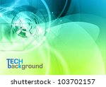 blue and green tech background - stock vector