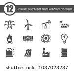 power generation vector icons... | Shutterstock .eps vector #1037023237