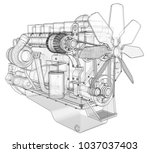 a big diesel engine with the... | Shutterstock . vector #1037037403