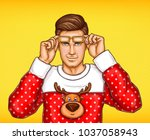 vector pop art man in christmas ... | Shutterstock .eps vector #1037058943