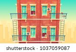 vector illustration of facade... | Shutterstock .eps vector #1037059087