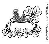 line gold coins inside cauldron ...   Shutterstock .eps vector #1037060827