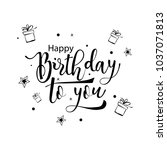 happy birthday to you. greeting ... | Shutterstock .eps vector #1037071813