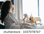 breakfast in bed  cozy hotel... | Shutterstock . vector #1037078767