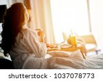 breakfast in bed  cozy hotel... | Shutterstock . vector #1037078773