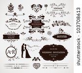 Vector design elements and calligraphic page decorations for wedding | Shutterstock vector #103708613