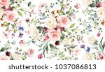 seamless pattern with spring... | Shutterstock . vector #1037086813