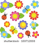 Stock vector vector flowers butterflies and ladybugs 103712033