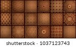 set of islamic oriental... | Shutterstock .eps vector #1037123743