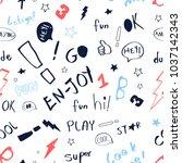 hand writing slogan pattern... | Shutterstock .eps vector #1037142343