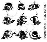 tea set. vector | Shutterstock .eps vector #1037151487