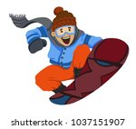 snowboarder smiling and jumping ... | Shutterstock . vector #1037151907