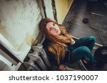 hipster punk sexy girl in old... | Shutterstock . vector #1037190007