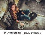hipster punk sexy girl in old... | Shutterstock . vector #1037190013