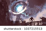 sci fi scene of the giant... | Shutterstock . vector #1037215513