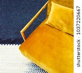 dark yellow velvet armchair.... | Shutterstock . vector #1037220667