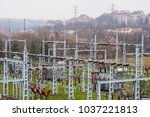 high voltage electric power... | Shutterstock . vector #1037221813