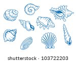 set of ocean seashells isolated ... | Shutterstock . vector #103722203