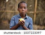 little smiling boy sitting... | Shutterstock . vector #1037223397