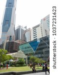 Small photo of Raffles Place and Raffles Place Mall in the Central Business District Singapore, Singapore, Mar 2, 2018