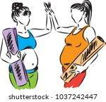 two pregnant women yoga fitness ... | Shutterstock .eps vector #1037242447