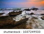 beautiful seashore at sunset | Shutterstock . vector #1037249533