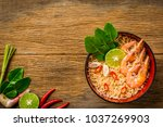 thai style noodle in bowl  tom... | Shutterstock . vector #1037269903