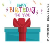 happy birthday card with giftbox | Shutterstock .eps vector #1037311783